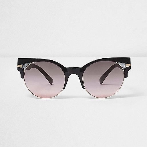 Black cut out half frame ocean sunglasses