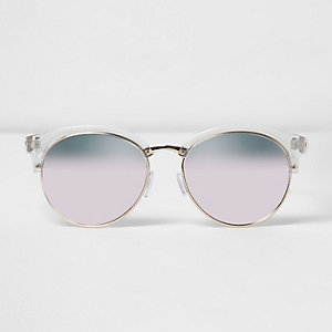 Lichte zonnebril met half montuur en roze glazen