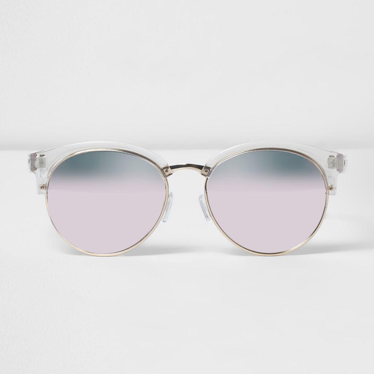 Clear half frame pink lens sunglasses