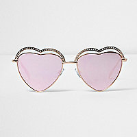 Gold tone heart pink lens sunglasses