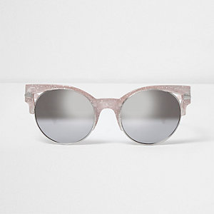 Gold glitter half frame cut out sunglasses
