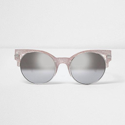 Gold glitter half frame cut out sunglasses