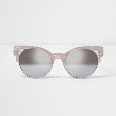 Gold Glitter Glasses Frames : Gold glitter half frame cut out sunglasses - Retro ...