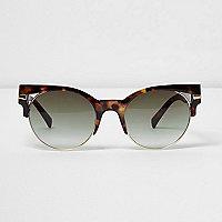 Brown tortoiseshell cut out sunglasses