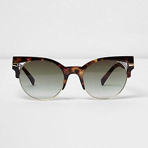 Bruine zonnebril met uitsnede en schildpadmotief
