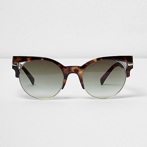 Brown tortoiseshell cut out sunglasses