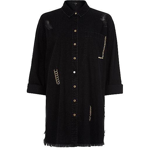 Black ripped ring oversized denim shirt