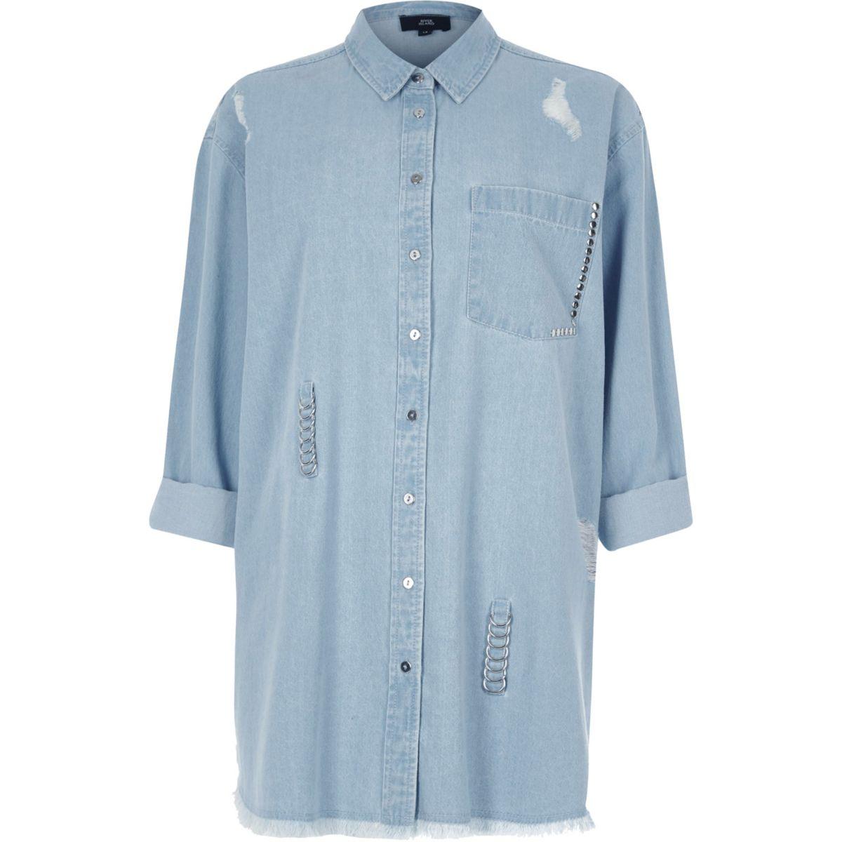 Blue ripped ring oversized denim shirt