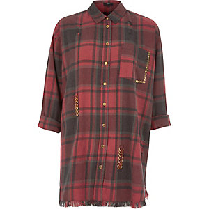 Red check distressed oversized shirt