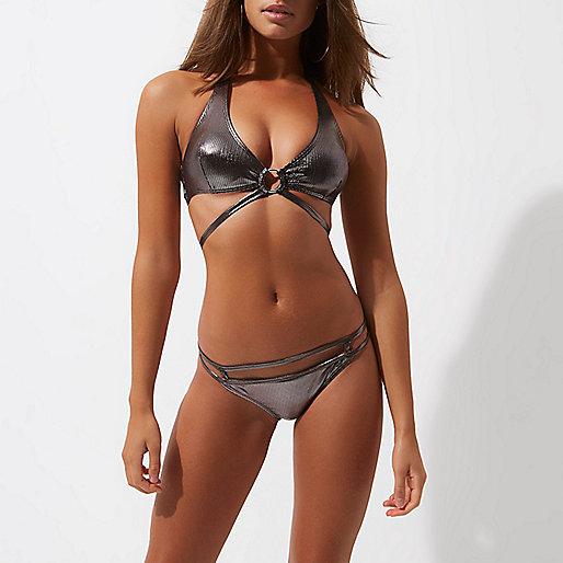 Silver metallic strappy waist bikini bottoms