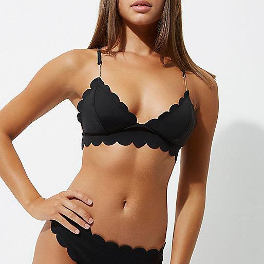 Black scallop detail longline bikini top