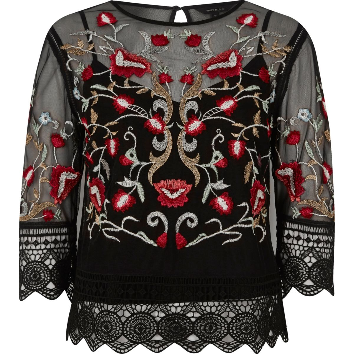 Black mesh floral embroidered lace trim top