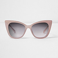 Light pink cat eye smoke lens sunglasses
