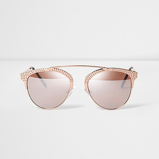 Rose gold tone studded brow bar sunglasses