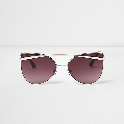 Gold cat eye purple lenses sunglasses