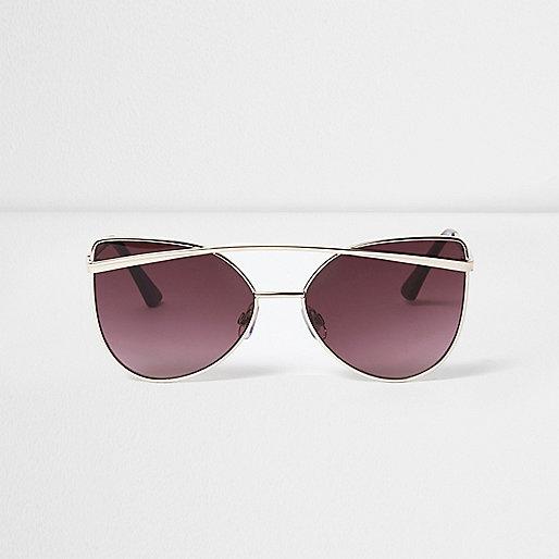 Gold cat eye purple lenses sunglasses