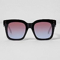 Schwarze Oversized-Sonnenbrille mit Ocean-Gläsern