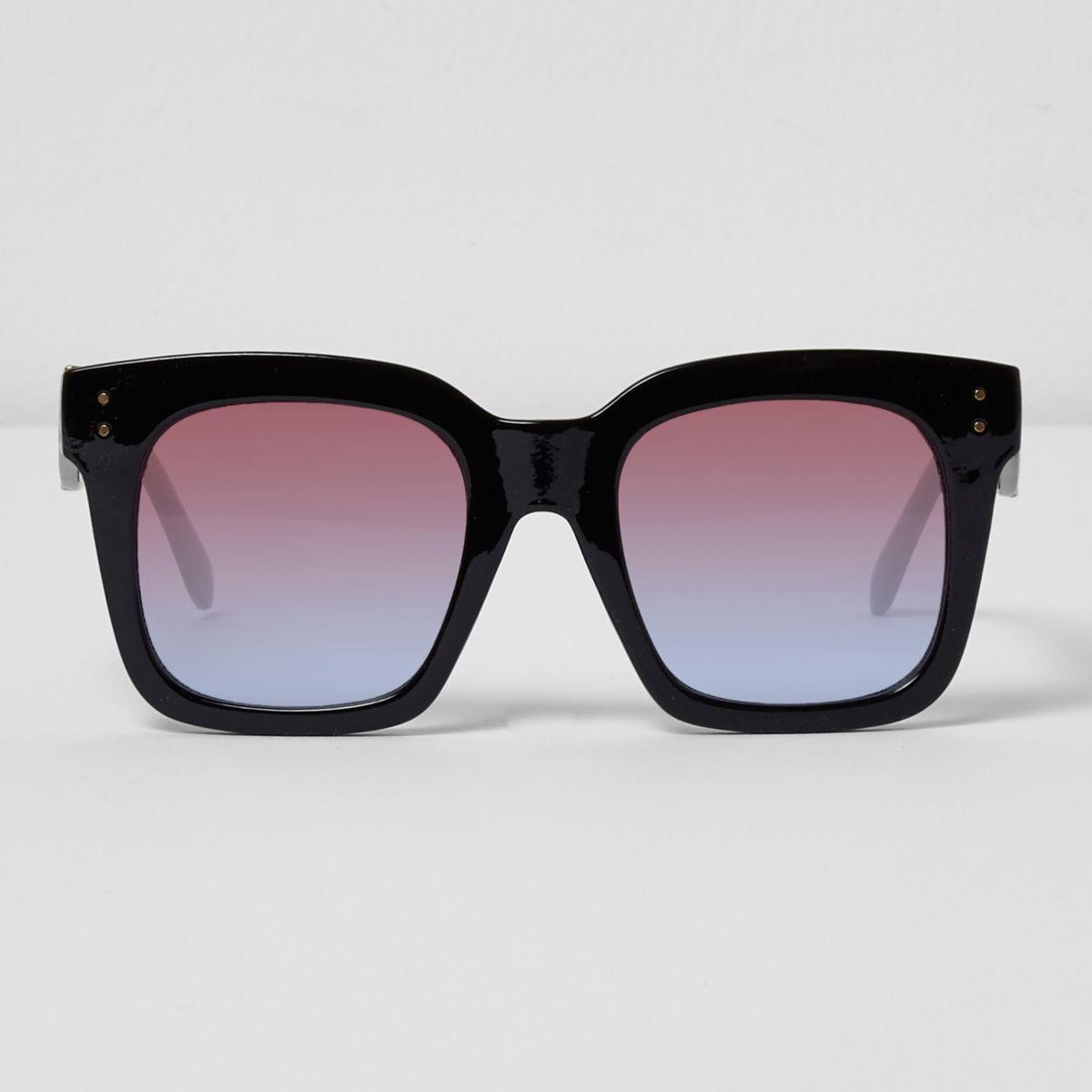 Black oversized ocean lens sunglasses