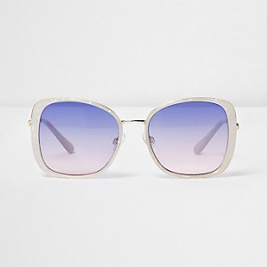 White glam blue lens sunglasses