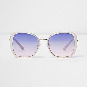 Lunettes de soleil blanches glamour à verres bleus