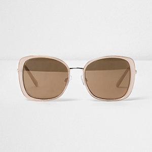 Lichtroze glam zonnebril met gouden spiegelglazen