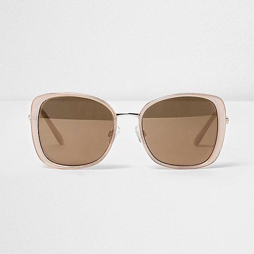 Light pink glam gold mirror sunglasses