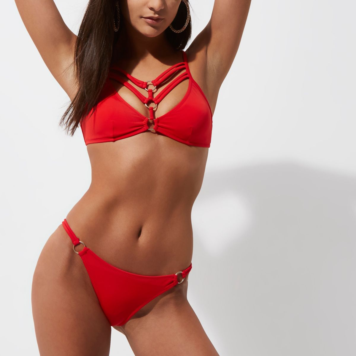 Red strappy ring low rise bikini bottom
