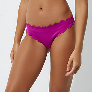 Purple scallop detail bikini bottoms