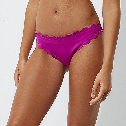 Purple scallop detail bikini bottoms