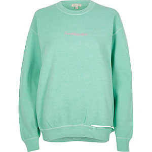 Green 'troublemaker' slashed hem sweatshirt