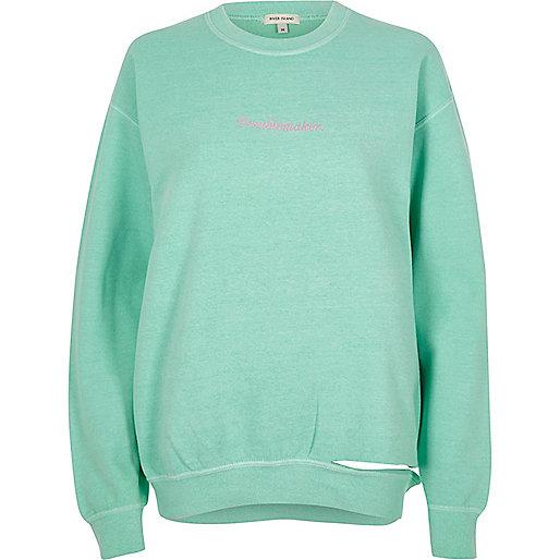Green 'troublemaker' slashed hem sweatshirt