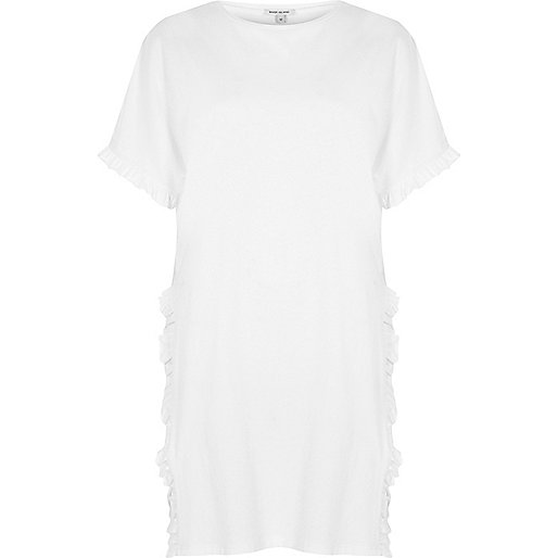 White frill side split oversized T-shirt