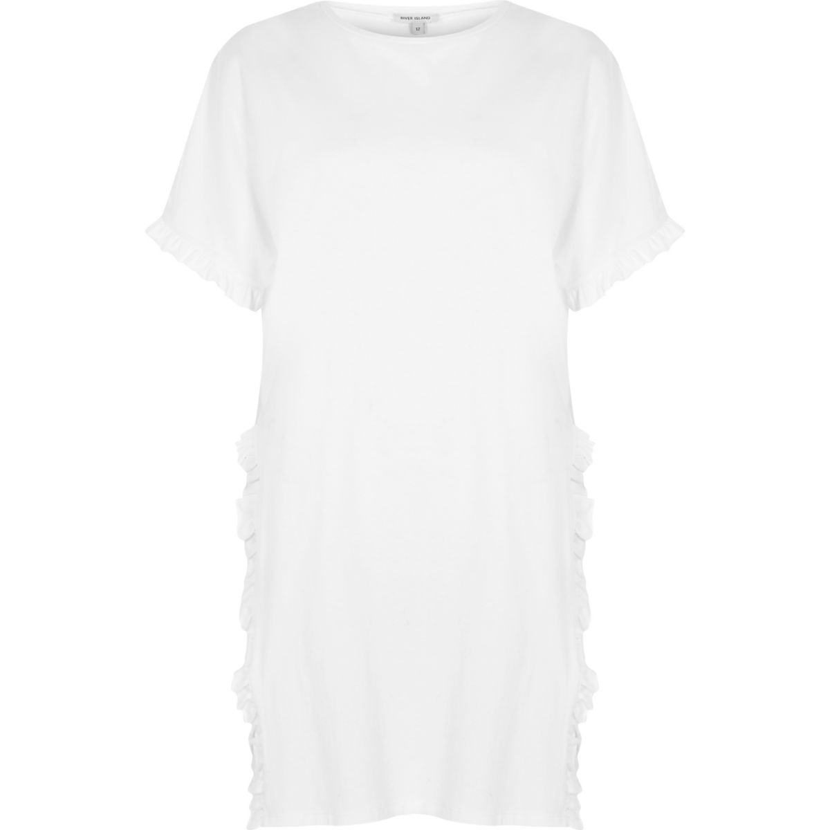White frill side split oversized T-shirt