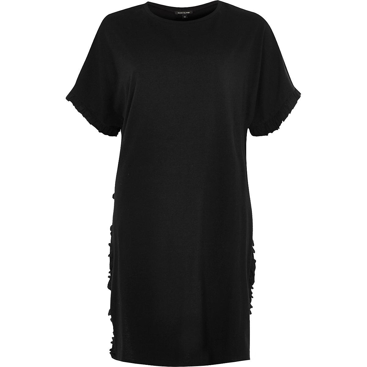 T-shirt oversize noir à volants fendu sur le côté
