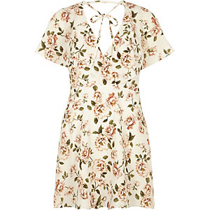 Cream floral print tie neck wrap dress