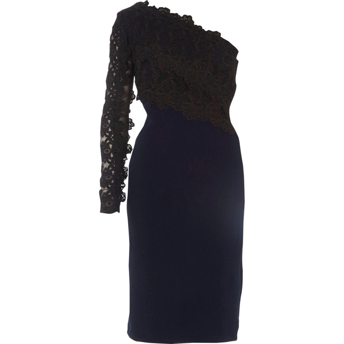 Navy one shoulder lace bodycon midi dress