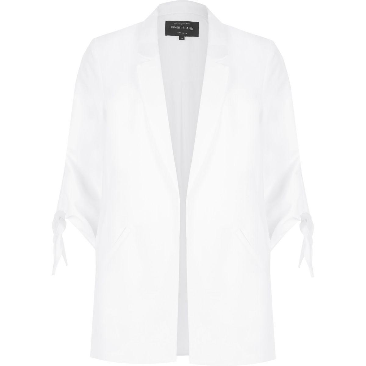 White self stripe tie cuff longline blazer