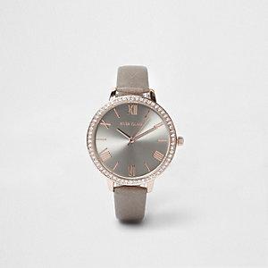 Horloge met grijs en roségouden wijzerplaat met stras