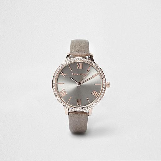 armbanduhr in grau und ros gold armbanduhren damen. Black Bedroom Furniture Sets. Home Design Ideas
