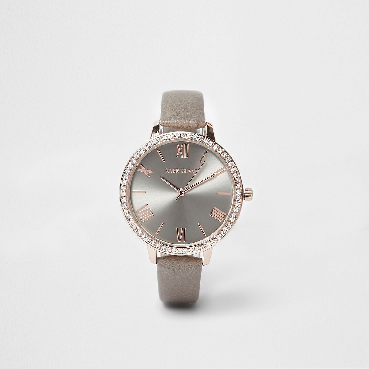 Grey and rose gold tone diamante face watch