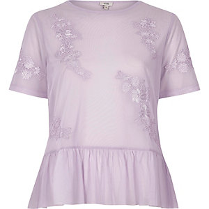 Light purple mesh frill hem top