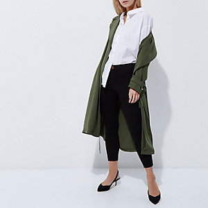 Petite khaki green duster trench coat