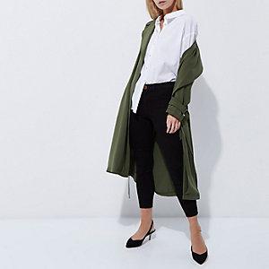 Petite khaki green duster trench coat