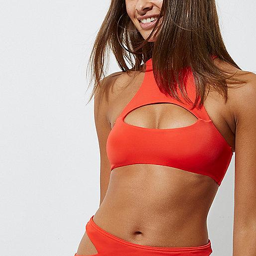 Red high neck cut out bikini top