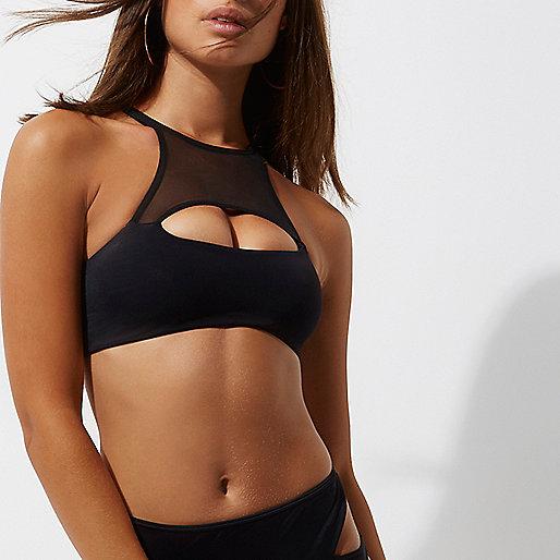 Black peekaboo cut out bikini top