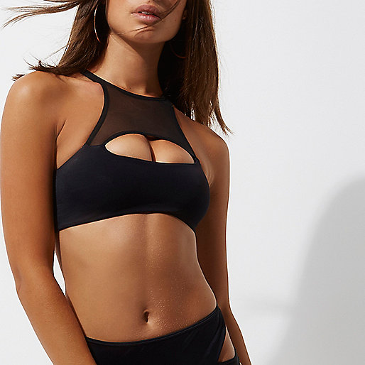 Black peekaboo cut out bikini top