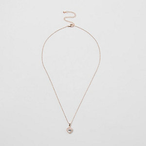 Rose gold tone rhinestone heart necklace