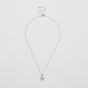 Collier doré rose avec cœur orné de strass
