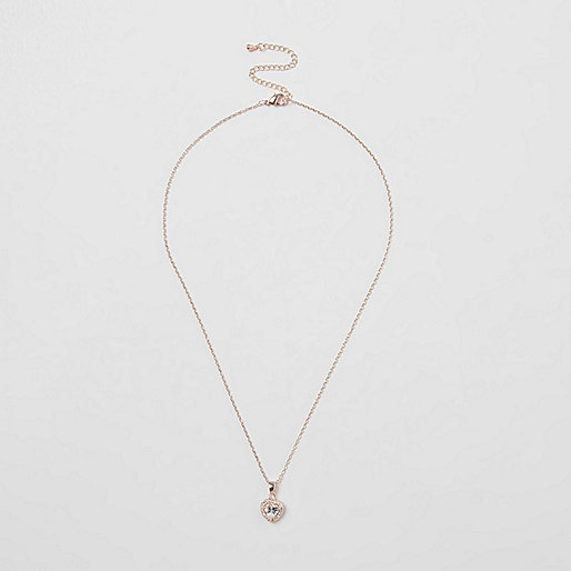 Rose gold tone diamante heart necklace
