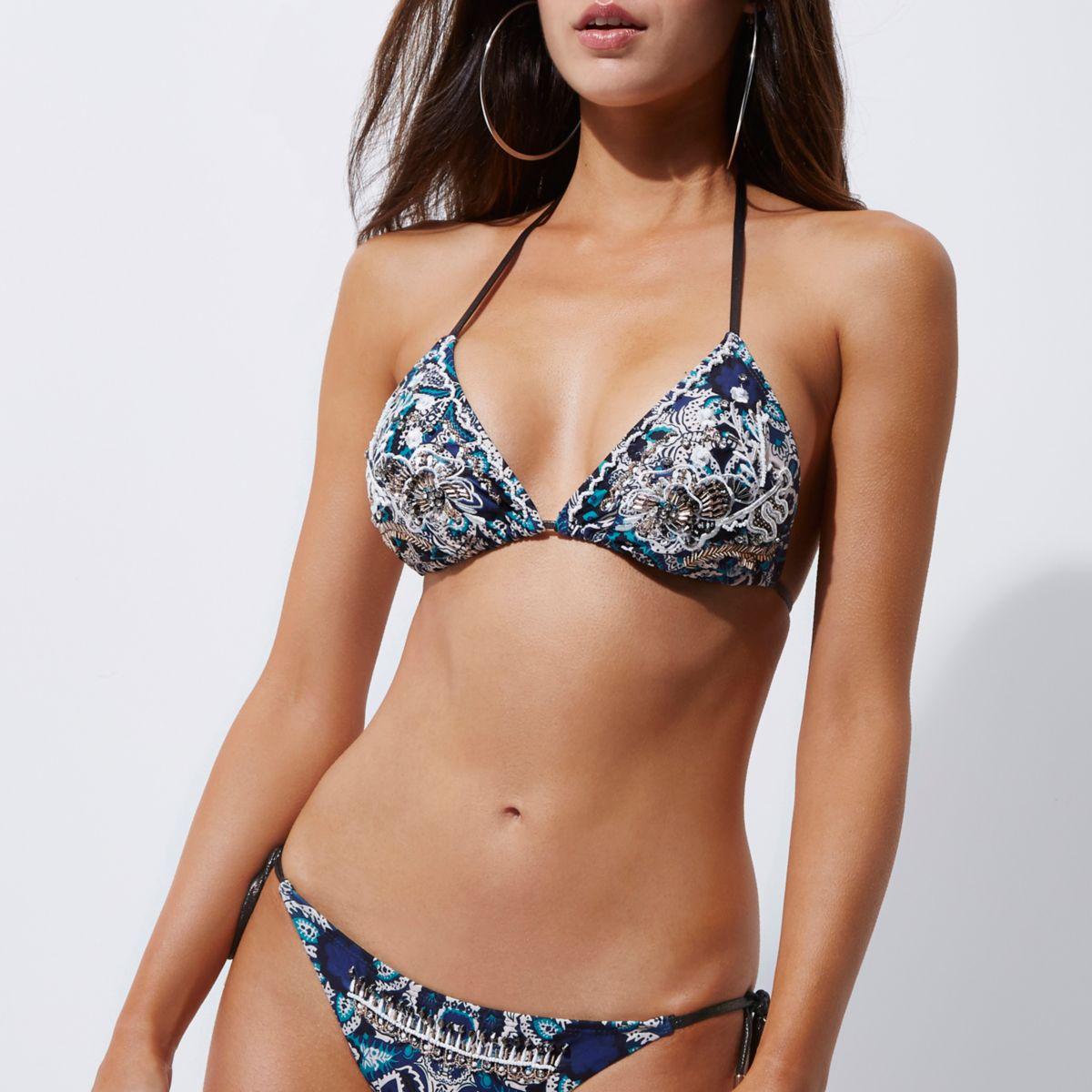 Blue embellished triangle string bikini top